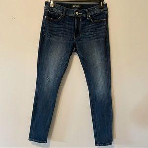 Express Dark Wash Skinny Mid-Rise Jeans Sz 10S